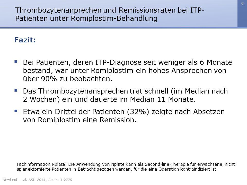 9 Thrombozytenanprechen und Remissionsraten bei ITP- Patienten unter Romiplostim-Behandlung Fazit:  Bei Patienten, deren ITP-Diagnose seit weniger al