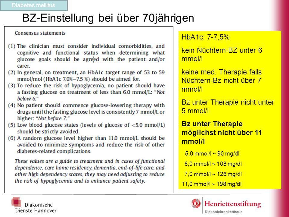 BZ-Einstellung bei über 70jährigen HbA1c: 7-7,5% kein Nüchtern-BZ unter 6 mmol/l keine med. Therapie falls Nüchtern-Bz nicht über 7 mmol/l Bz unter Th