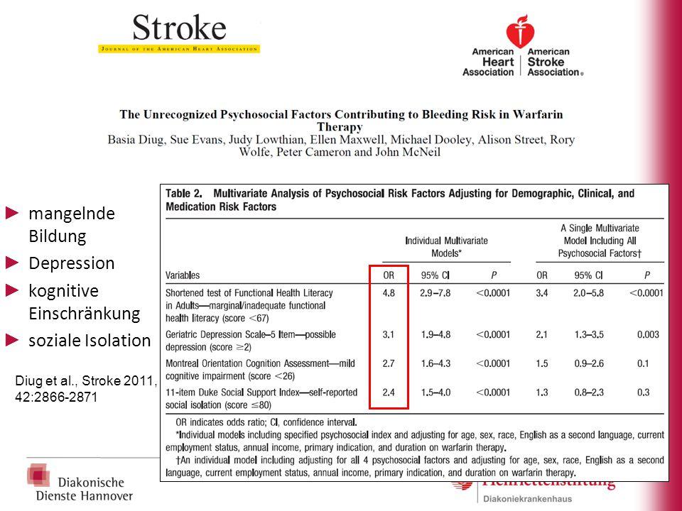 ► mangelnde Bildung ► Depression ► kognitive Einschränkung ► soziale Isolation Diug et al., Stroke 2011, 42:2866-2871