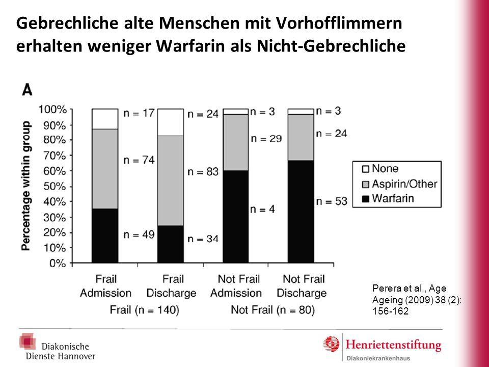 Gebrechliche alte Menschen mit Vorhofflimmern erhalten weniger Warfarin als Nicht-Gebrechliche Perera et al., Age Ageing (2009) 38 (2): 156-162