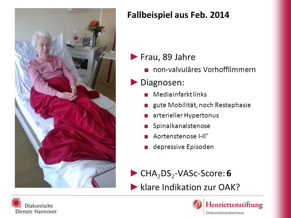 Fallbeispiel aus Feb. 2014 ► Frau, 89 Jahre ■ non-valvuläres Vorhofflimmern ► Diagnosen: ■ Mediainfarkt links ■ gute Mobilität, noch Restaphasie ■ art