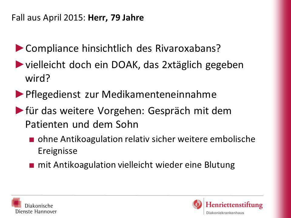 Fall aus April 2015: Herr, 79 Jahre ► Compliance hinsichtlich des Rivaroxabans? ► vielleicht doch ein DOAK, das 2xtäglich gegeben wird? ► Pflegedienst