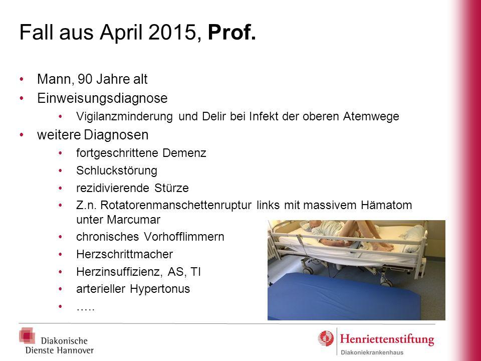Fall aus April 2015, Prof. Mann, 90 Jahre alt Einweisungsdiagnose Vigilanzminderung und Delir bei Infekt der oberen Atemwege weitere Diagnosen fortges