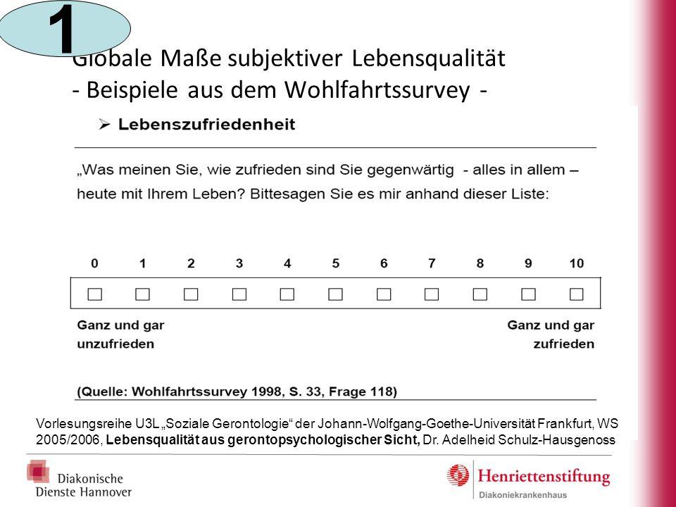 """Globale Maße subjektiver Lebensqualität - Beispiele aus dem Wohlfahrtssurvey - Vorlesungsreihe U3L """"Soziale Gerontologie"""" der Johann-Wolfgang-Goethe-U"""