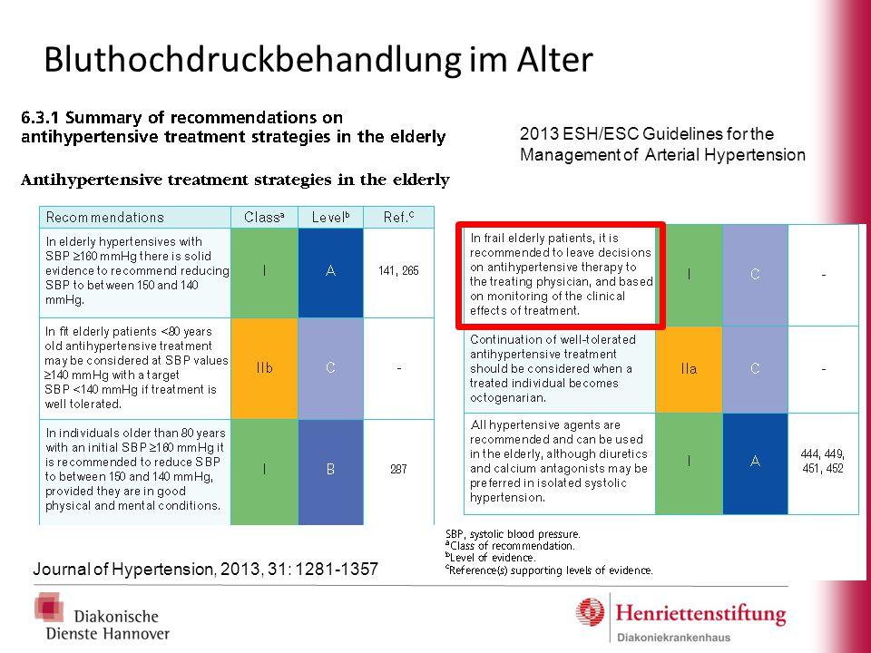 Bluthochdruckbehandlung im Alter 2013 ESH/ESC Guidelines for the Management of Arterial Hypertension Journal of Hypertension, 2013, 31: 1281-1357