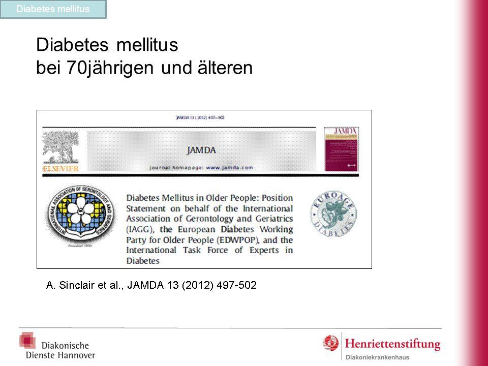 BZ-Einstellung bei über 70jährigen HbA1c: 7-7,5% kein Nüchtern-BZ unter 6 mmol/l keine med.