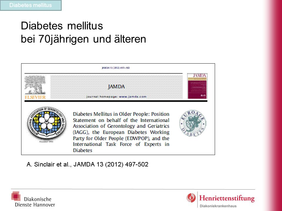 Diabetes mellitus bei 70jährigen und älteren Diabetes mellitus