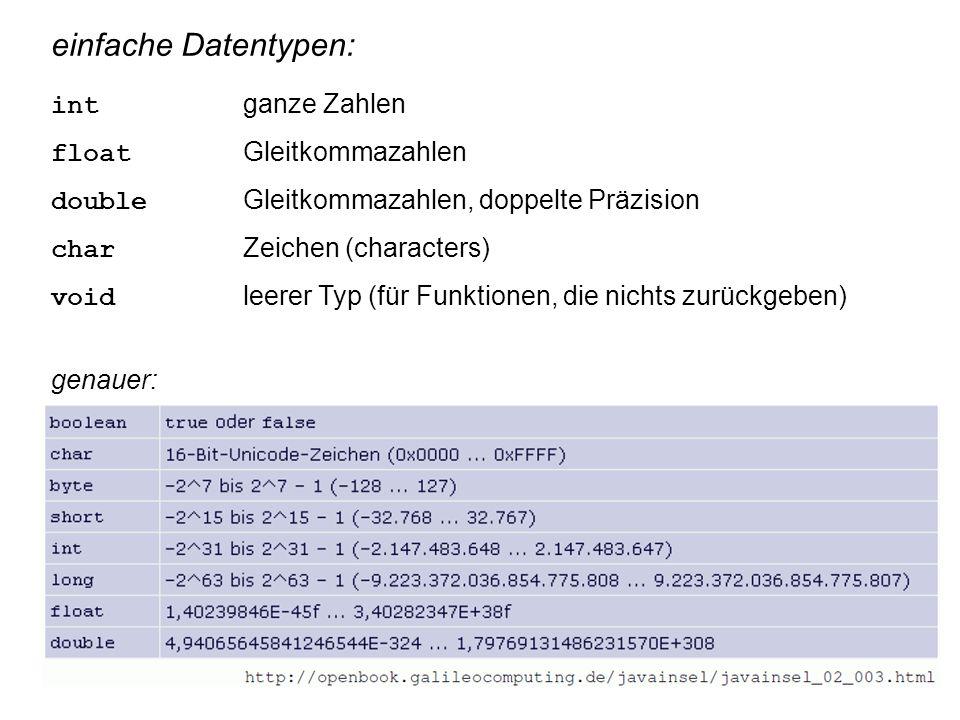 einfache Datentypen: int ganze Zahlen float Gleitkommazahlen double Gleitkommazahlen, doppelte Präzision char Zeichen (characters) void leerer Typ (für Funktionen, die nichts zurückgeben) genauer: