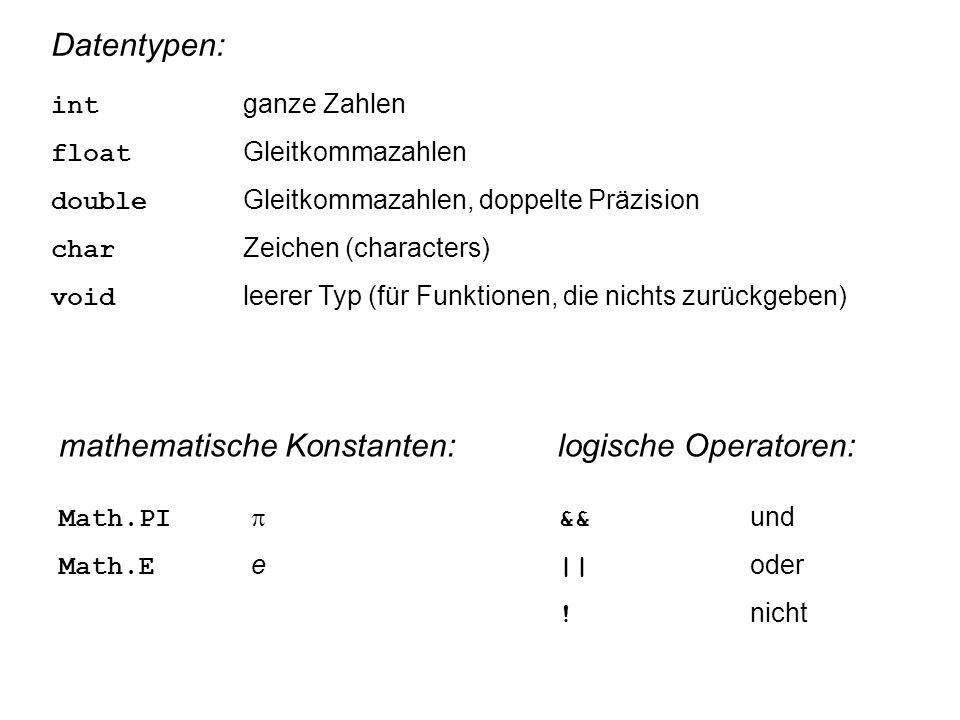 Datentypen: int ganze Zahlen float Gleitkommazahlen double Gleitkommazahlen, doppelte Präzision char Zeichen (characters) void leerer Typ (für Funktionen, die nichts zurückgeben) mathematische Konstanten: Math.PI  Math.E e logische Operatoren: && und || oder .
