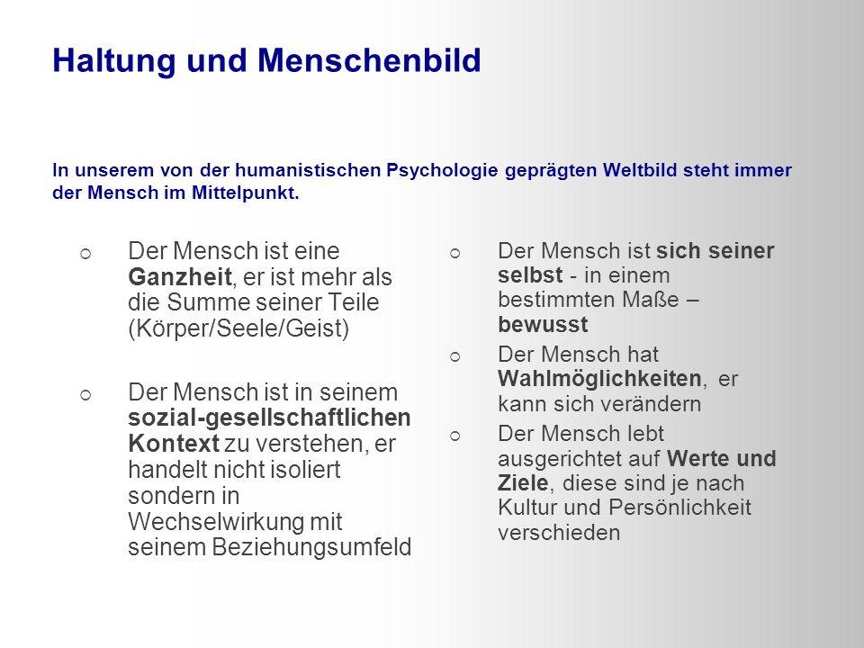 Haltung und Menschenbild In unserem von der humanistischen Psychologie geprägten Weltbild steht immer der Mensch im Mittelpunkt.