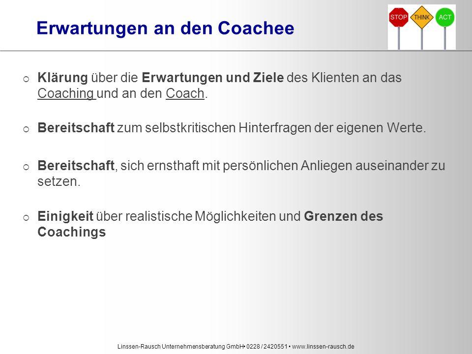 Linssen-Rausch Unternehmensberatung GmbH 0228 / 2420551 www.linssen-rausch.de Erwartungen an den Coachee  Klärung über die Erwartungen und Ziele des Klienten an das Coaching und an den Coach.