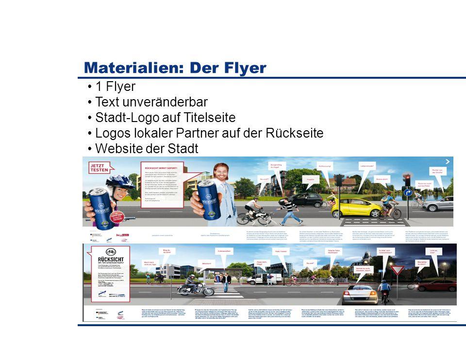 Materialien: Der Flyer 1 Flyer Text unveränderbar Stadt-Logo auf Titelseite Logos lokaler Partner auf der Rückseite Website der Stadt