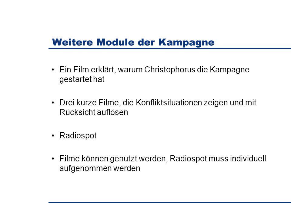 Weitere Module der Kampagne Ein Film erklärt, warum Christophorus die Kampagne gestartet hat Drei kurze Filme, die Konfliktsituationen zeigen und mit Rücksicht auflösen Radiospot Filme können genutzt werden, Radiospot muss individuell aufgenommen werden