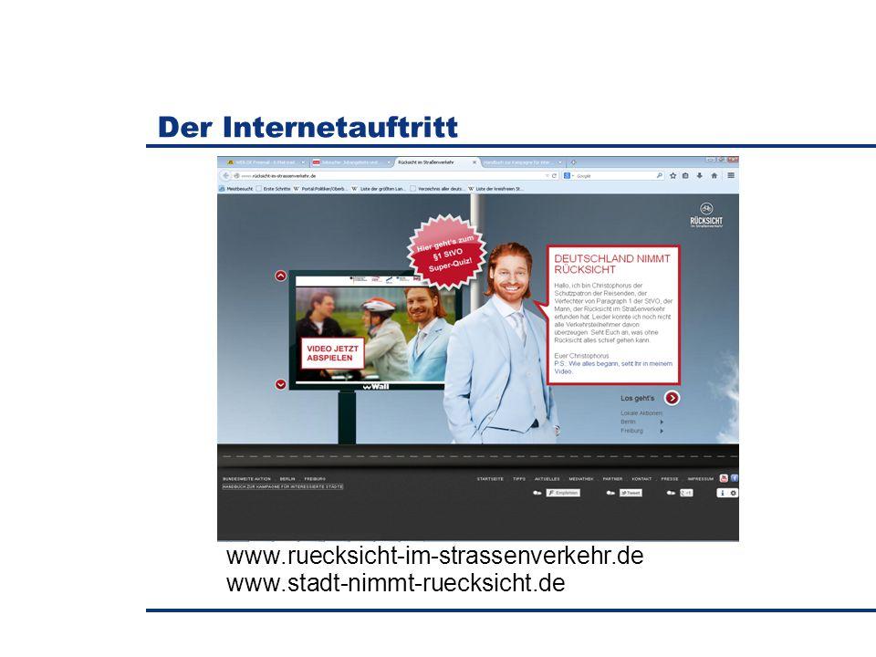 Der Internetauftritt www.ruecksicht-im-strassenverkehr.de www.stadt-nimmt-ruecksicht.de