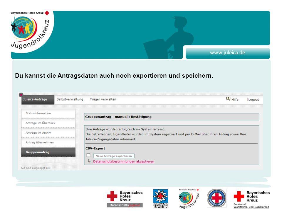 www.juleica.de Du kannst die Antragsdaten auch noch exportieren und speichern.