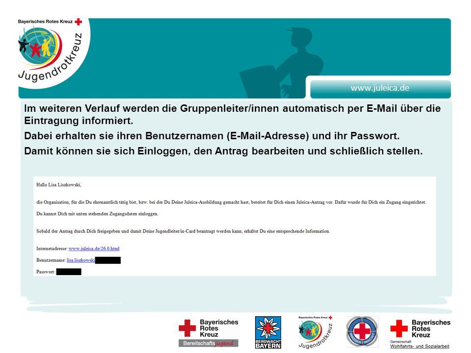 www.juleica.de Im weiteren Verlauf werden die Gruppenleiter/innen automatisch per E-Mail über die Eintragung informiert.