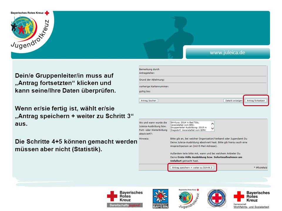 """www.juleica.de Dein/e Gruppenleiter/in muss auf """"Antrag fortsetzten klicken und kann seine/Ihre Daten überprüfen."""