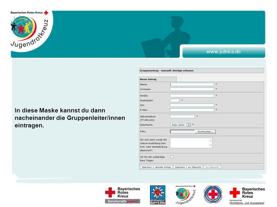 www.juleica.de In diese Maske kannst du dann nacheinander die Gruppenleiter/innen eintragen.
