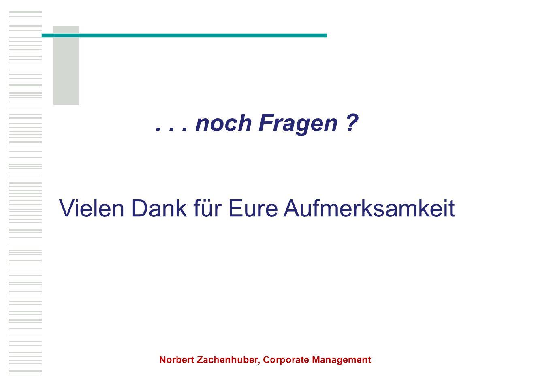 ... noch Fragen ? Vielen Dank für Eure Aufmerksamkeit Norbert Zachenhuber, Corporate Management