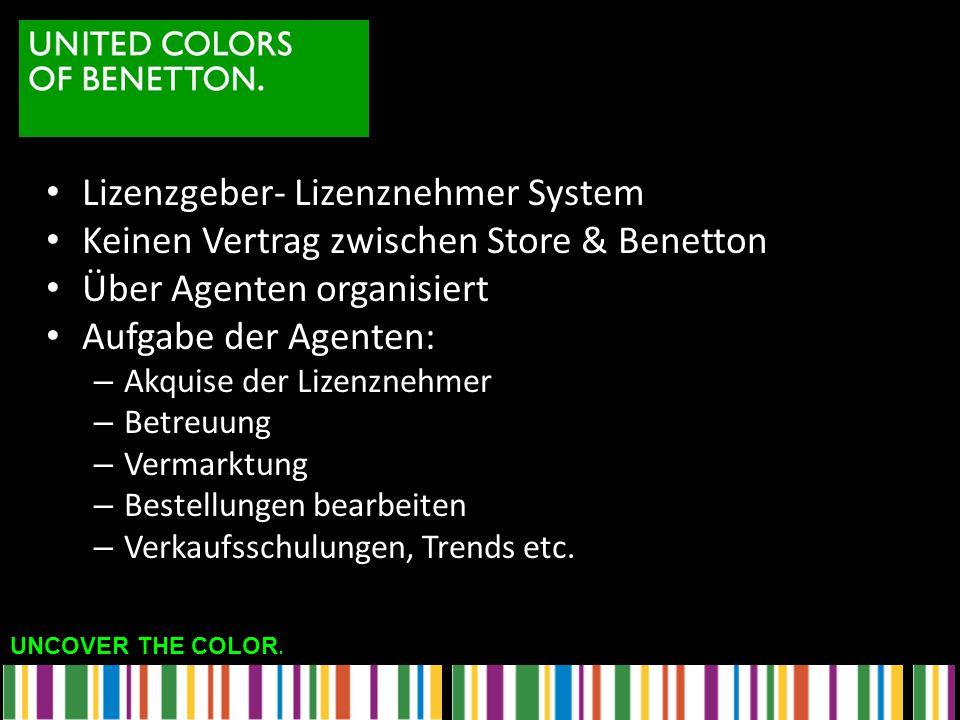 UNCOVER THE COLOR. Lizenzgeber- Lizenznehmer System Keinen Vertrag zwischen Store & Benetton Über Agenten organisiert Aufgabe der Agenten: – Akquise d