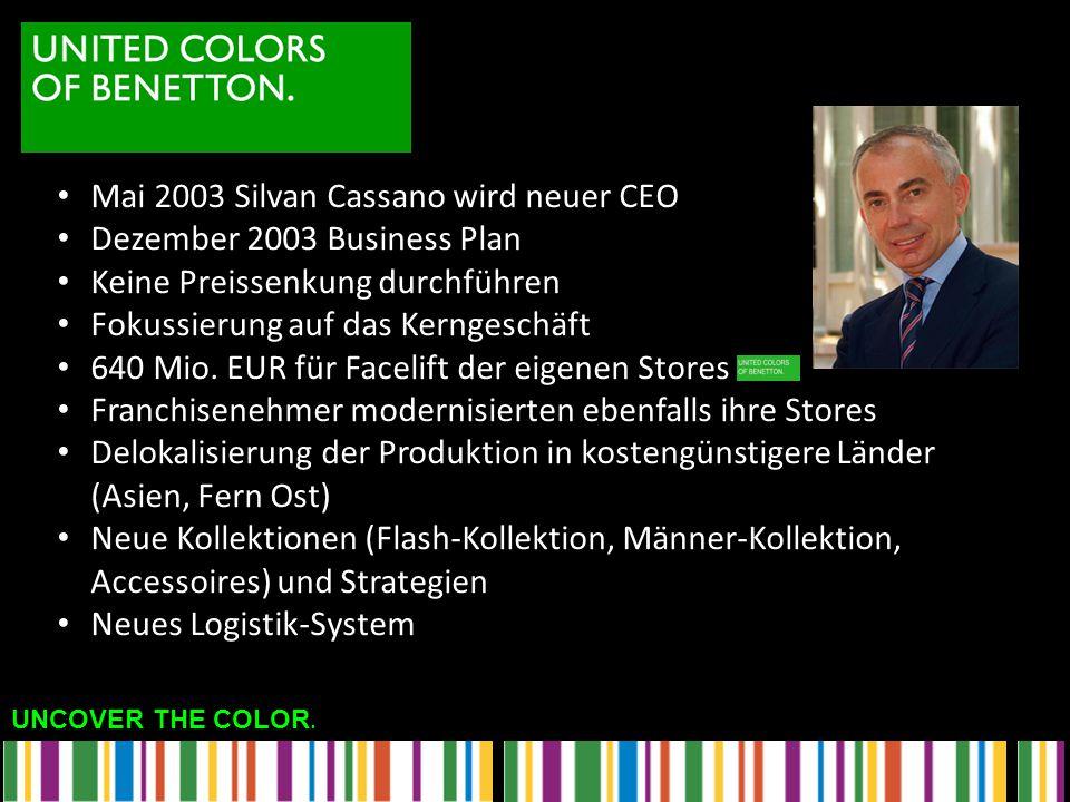 UNCOVER THE COLOR. Mai 2003 Silvan Cassano wird neuer CEO Dezember 2003 Business Plan Keine Preissenkung durchführen Fokussierung auf das Kerngeschäft