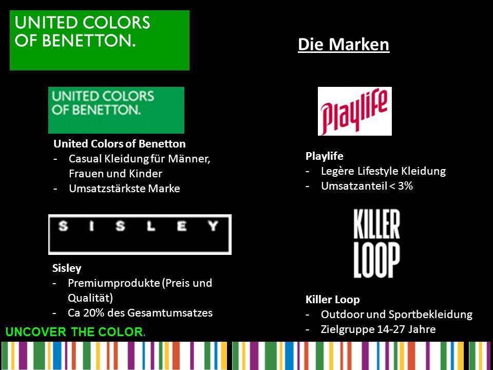 UNCOVER THE COLOR. United Colors of Benetton -Casual Kleidung für Männer, Frauen und Kinder -Umsatzstärkste Marke Sisley -Premiumprodukte (Preis und Q