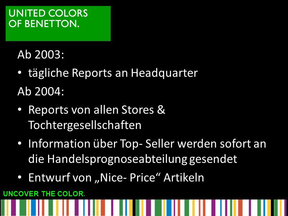 UNCOVER THE COLOR. Ab 2003: tägliche Reports an Headquarter Ab 2004: Reports von allen Stores & Tochtergesellschaften Information über Top- Seller wer