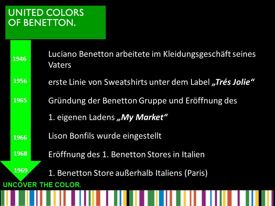 """UNCOVER THE COLOR. Luciano Benetton arbeitete im Kleidungsgeschäft seines Vaters erste Linie von Sweatshirts unter dem Label """"Trés Jolie"""" Gründung der"""