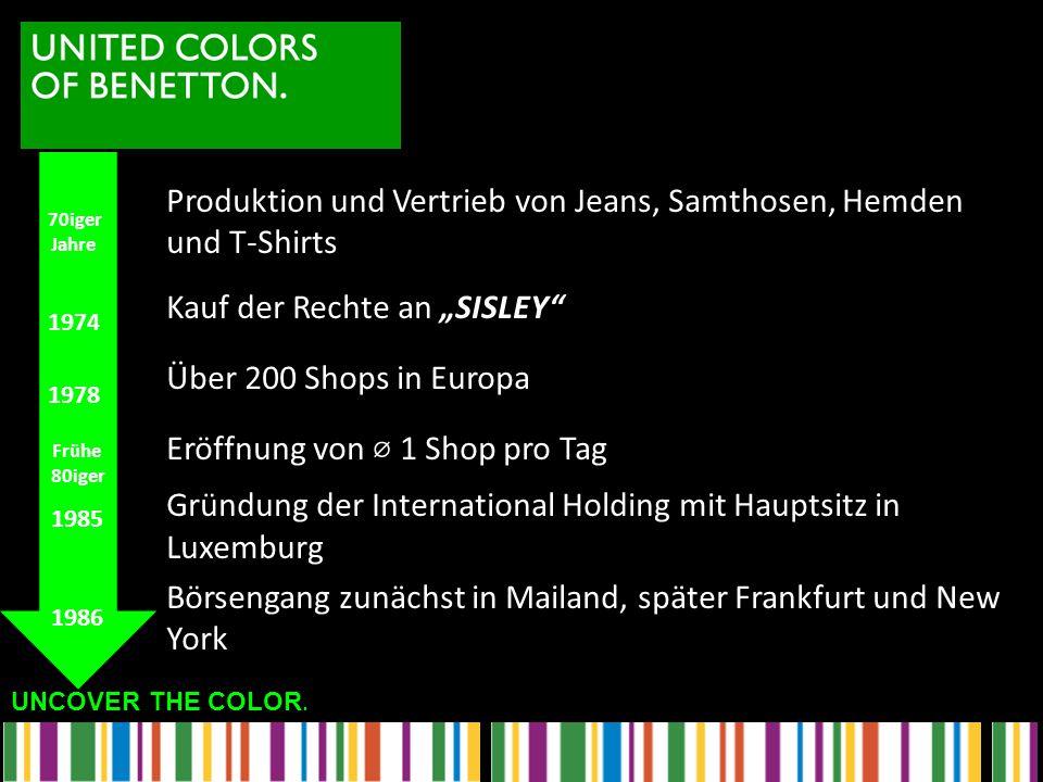 """UNCOVER THE COLOR. Produktion und Vertrieb von Jeans, Samthosen, Hemden und T-Shirts Kauf der Rechte an """"SISLEY"""" Über 200 Shops in Europa Eröffnung vo"""