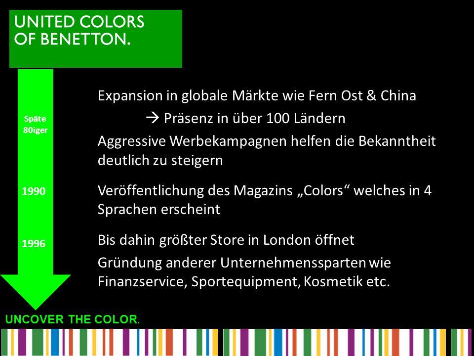 UNCOVER THE COLOR. Expansion in globale Märkte wie Fern Ost & China  Präsenz in über 100 Ländern Aggressive Werbekampagnen helfen die Bekanntheit deu
