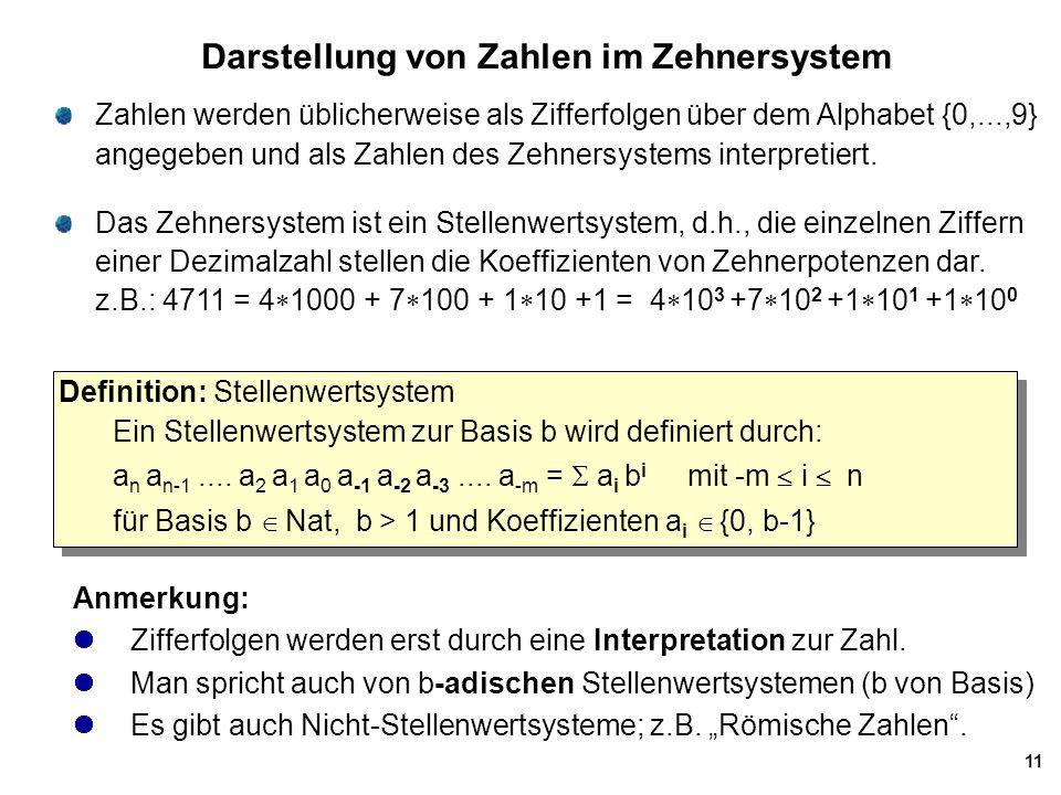 11 Darstellung von Zahlen im Zehnersystem Zahlen werden üblicherweise als Zifferfolgen über dem Alphabet {0,...,9} angegeben und als Zahlen des Zehner