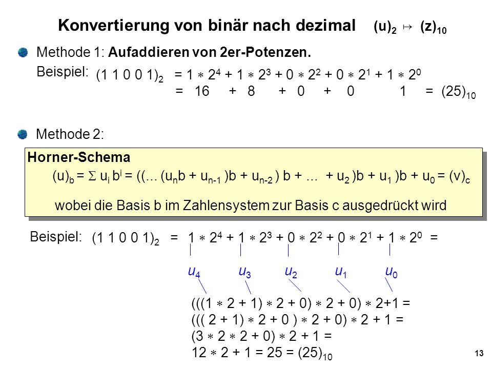 13 Konvertierung von binär nach dezimal (u) 2 ↦ (z) 10 Methode 1: Aufaddieren von 2er-Potenzen. Beispiel: (1 1 0 0 1) 2 = 1  2 4 + 1  2 3 + 0  2 2