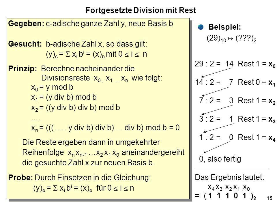 15 Fortgesetzte Division mit Rest Gegeben: c-adische ganze Zahl y, neue Basis b Gesucht: b-adische Zahl x, so dass gilt: (y) c =  x i b i = (x) b mit