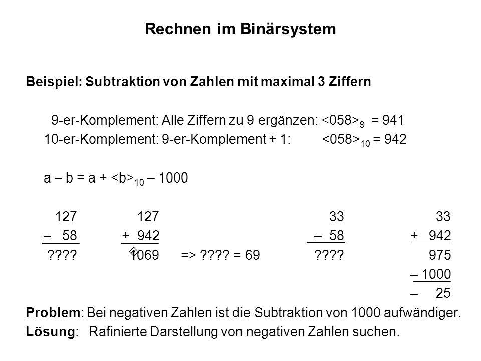 Rechnen im Binärsystem Beispiel: Subtraktion von Zahlen mit maximal 3 Ziffern 9-er-Komplement: Alle Ziffern zu 9 ergänzen: 9 = 941 10-er-Komplement: 9