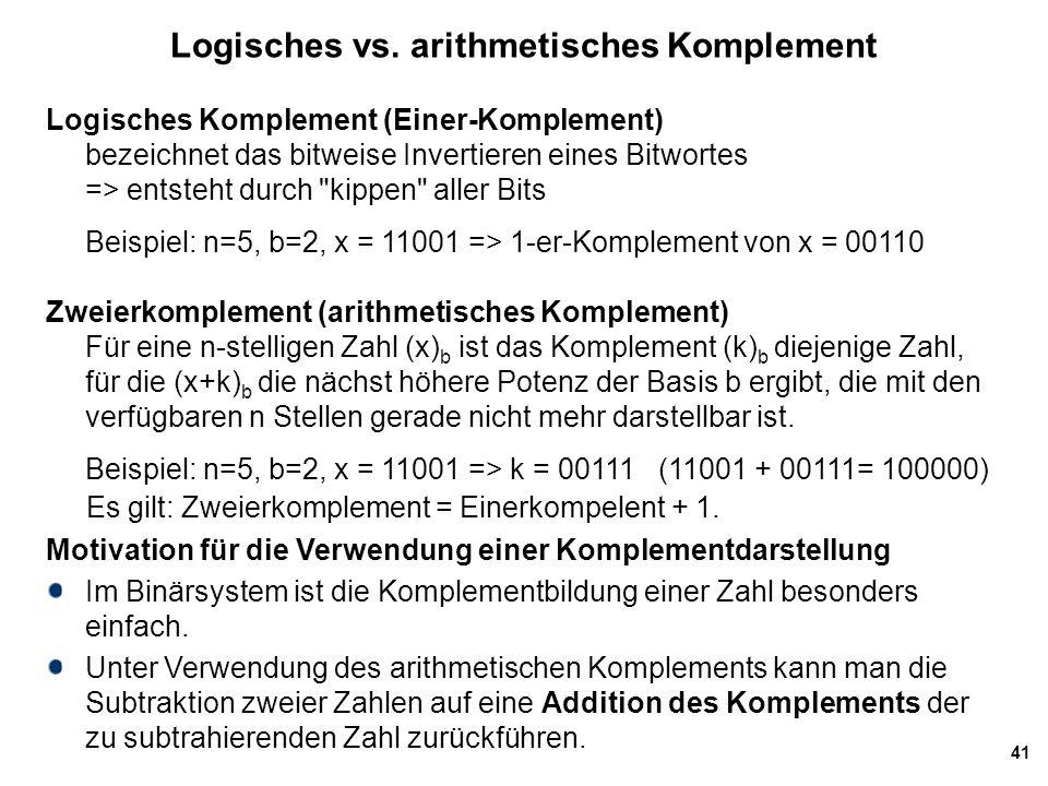 41 Logisches vs. arithmetisches Komplement Logisches Komplement (Einer-Komplement) bezeichnet das bitweise Invertieren eines Bitwortes => entsteht dur