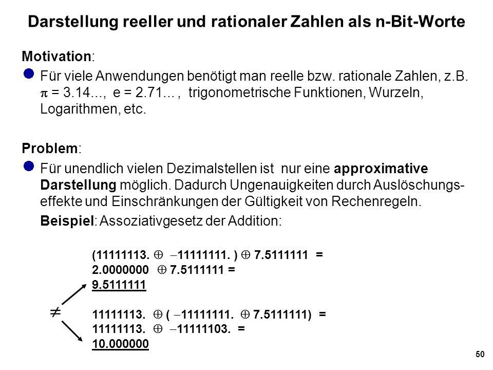 50 Darstellung reeller und rationaler Zahlen als n-Bit-Worte Motivation: Für viele Anwendungen benötigt man reelle bzw. rationale Zahlen, z.B.  = 3.1