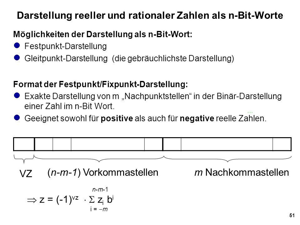 51 Darstellung reeller und rationaler Zahlen als n-Bit-Worte Möglichkeiten der Darstellung als n-Bit-Wort: Festpunkt-Darstellung Gleitpunkt-Darstellun