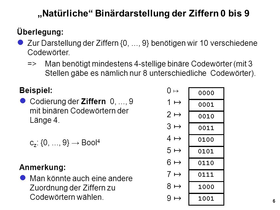 7 BCD-Codierung Idee: Verwende zur Codierung der Ziffern 0,..., 9 eine Tetraden-Codierung, d.h., codiere jede Dezimalziffer mit einem 4 Bitwort: c BCD : {0,..., 9}  Bool 4 Mehr-zifferige Dezimalzahlen werden dann ziffernweise mit der natürlichen Fortsetzung c* BCD codiert: Beispiel: c* BCD (13) =c BCD (1)  c BCD (3) = 0001 0011 Fragen: Was macht man mit den nicht benötigten Code- wörtern 1010, 1011, 1100, 1101, 1110 und 1111 .