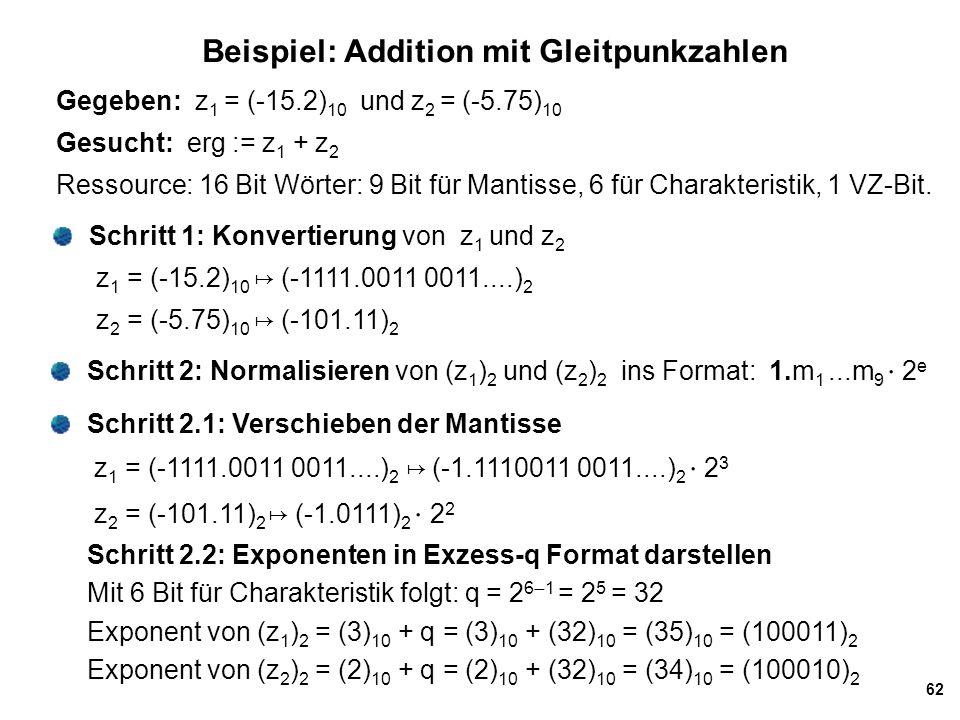 62 Beispiel: Addition mit Gleitpunkzahlen Gegeben: z 1 = (-15.2) 10 und z 2 = (-5.75) 10 Gesucht: erg := z 1 + z 2 Ressource: 16 Bit Wörter: 9 Bit für