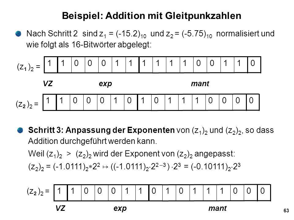 63 Beispiel: Addition mit Gleitpunkzahlen Nach Schritt 2 sind z 1 = (-15.2) 10 und z 2 = (-5.75) 10 normalisiert und wie folgt als 16-Bitwörter abgele