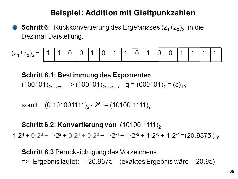 65 Beispiel: Addition mit Gleitpunkzahlen Schritt 6: Rückkonvertierung des Ergebnisses (z 1 +z 2 ) 2 in die Dezimal-Darstellung. Schritt 6.1: Bestimmu