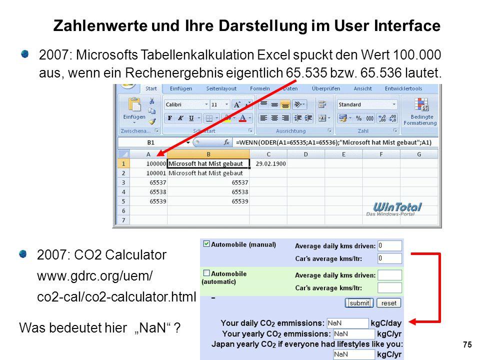 75 Zahlenwerte und Ihre Darstellung im User Interface 2007: Microsofts Tabellenkalkulation Excel spuckt den Wert 100.000 aus, wenn ein Rechenergebnis