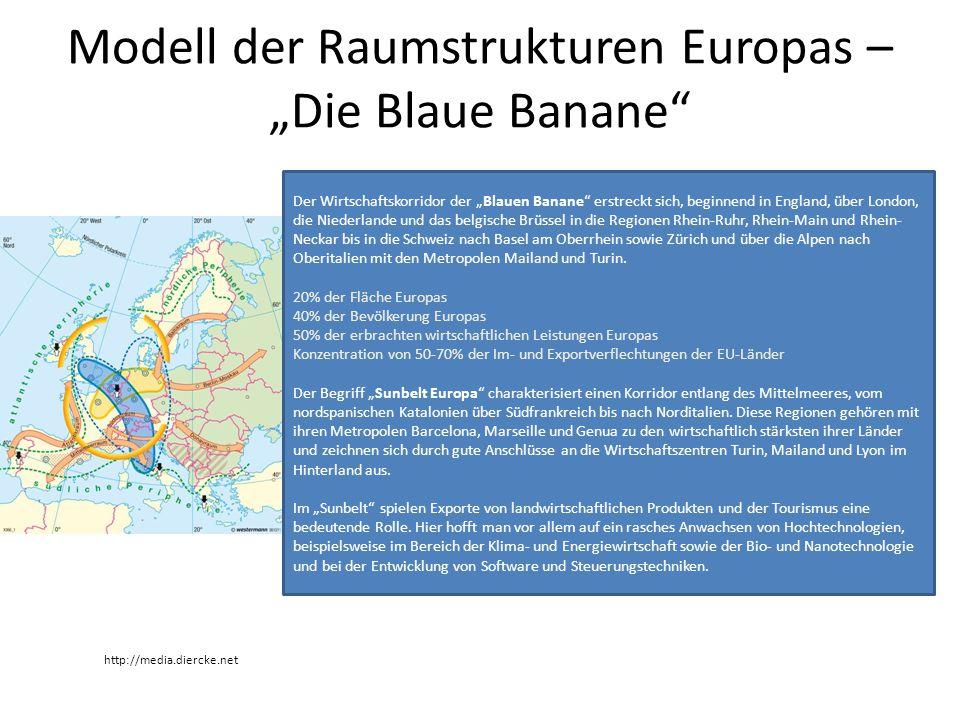 """Modell der Raumstrukturen Europas – """"Die Blaue Banane"""" http://media.diercke.net Der Wirtschaftskorridor der """"Blauen Banane"""" erstreckt sich, beginnend"""