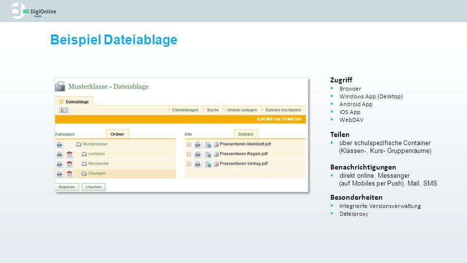 Beispiel Dateiablage Zugriff  Browser  Windows App (Desktop)  Android App  iOS App  WebDAV Teilen  über schulspezifische Container (Klassen-, Ku
