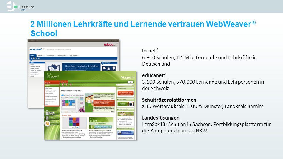 lo-net² 6.800 Schulen, 1,1 Mio. Lernende und Lehrkräfte in Deutschland educanet² 3.600 Schulen, 570.000 Lernende und Lehrpersonen in der Schweiz Schul