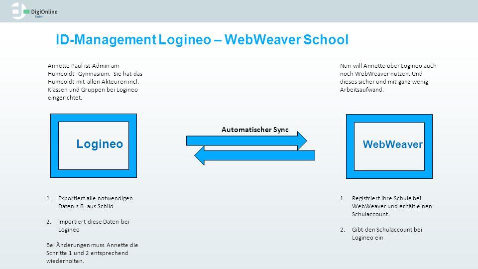 ID-Management Logineo – WebWeaver School Annette Paul ist Admin am Humboldt -Gymnasium. Sie hat das Humboldt mit allen Akteuren incl. Klassen und Grup