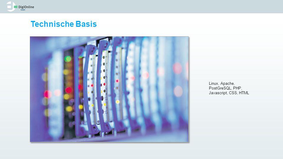 Technische Basis Linux, Apache, PostGreSQL, PHP, Javascript, CSS, HTML