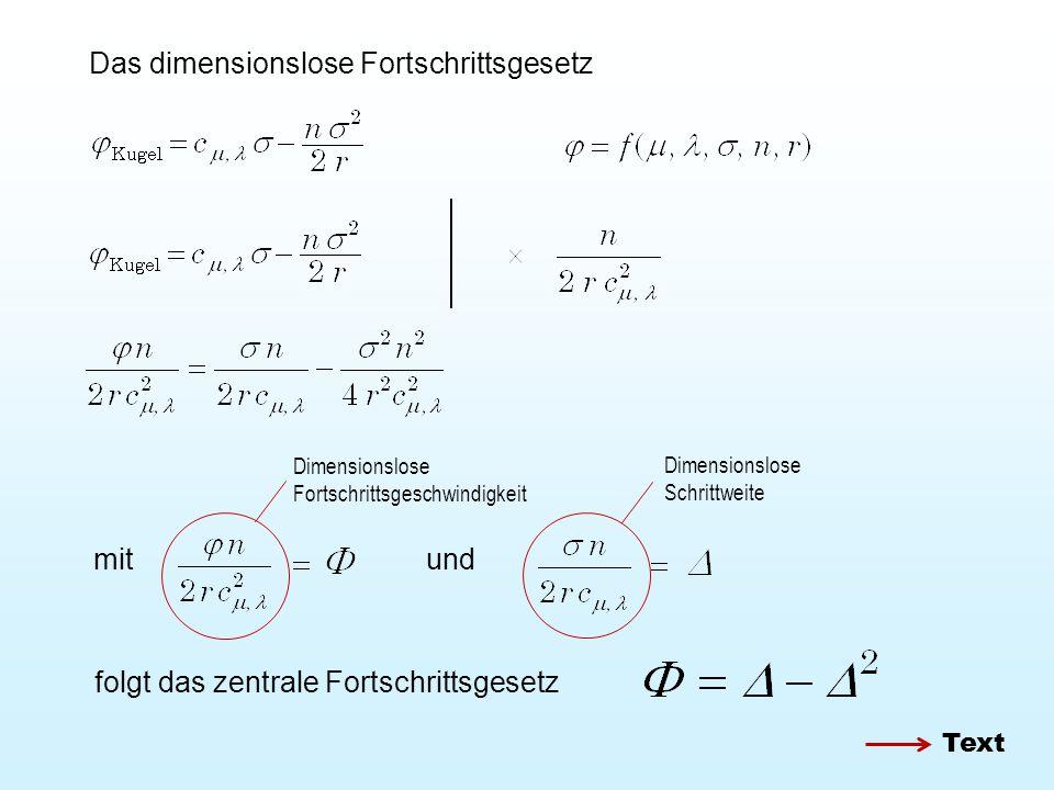 Das dimensionslose Fortschrittsgesetz mitund folgt das zentrale Fortschrittsgesetz Dimensionslose Fortschrittsgeschwindigkeit Dimensionslose Schrittweite Text