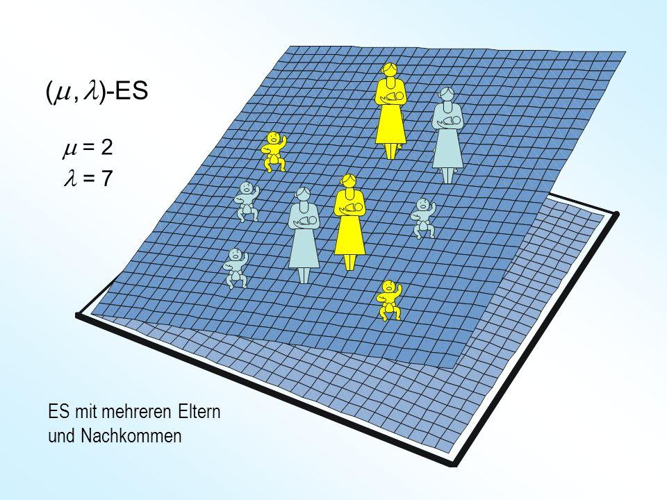 ( , )-ES ES mit mehreren Eltern und Nachkommen = 7  = 2