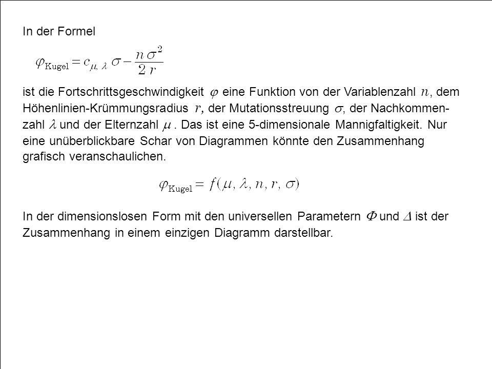 In der Formel ist die Fortschrittsgeschwindigkeit  eine Funktion von der Variablenzahl n, dem Höhenlinien-Krümmungsradius r, der Mutationsstreuung , der Nachkommen- zahl  und der Elternzahl .